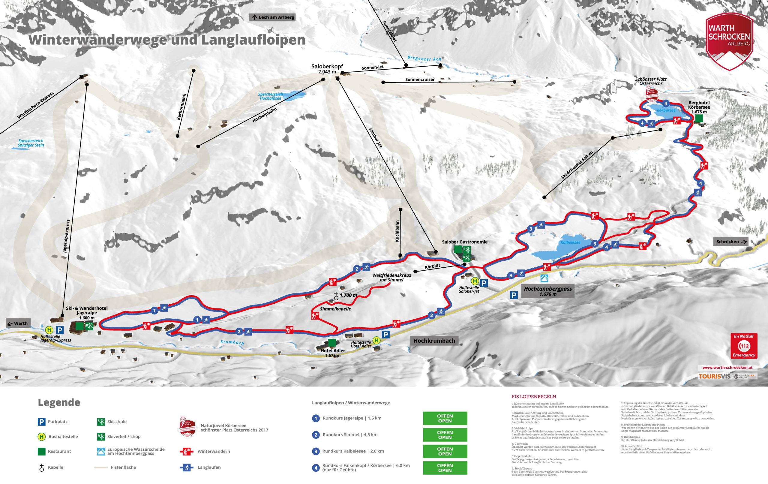 3D Panoramakarte - Langlaufen und Winterwandern - Hochkrumbach Warth-Schöcken
