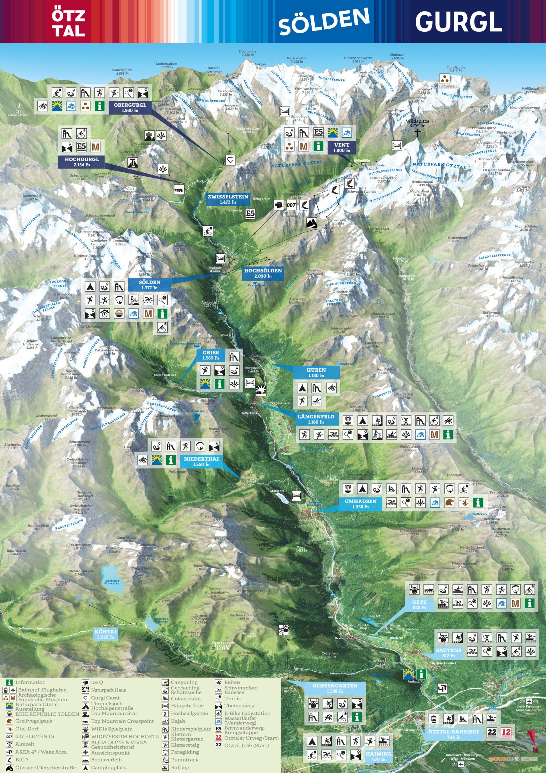 3D Panoramakarte - Sommerpanorama - Ötztal