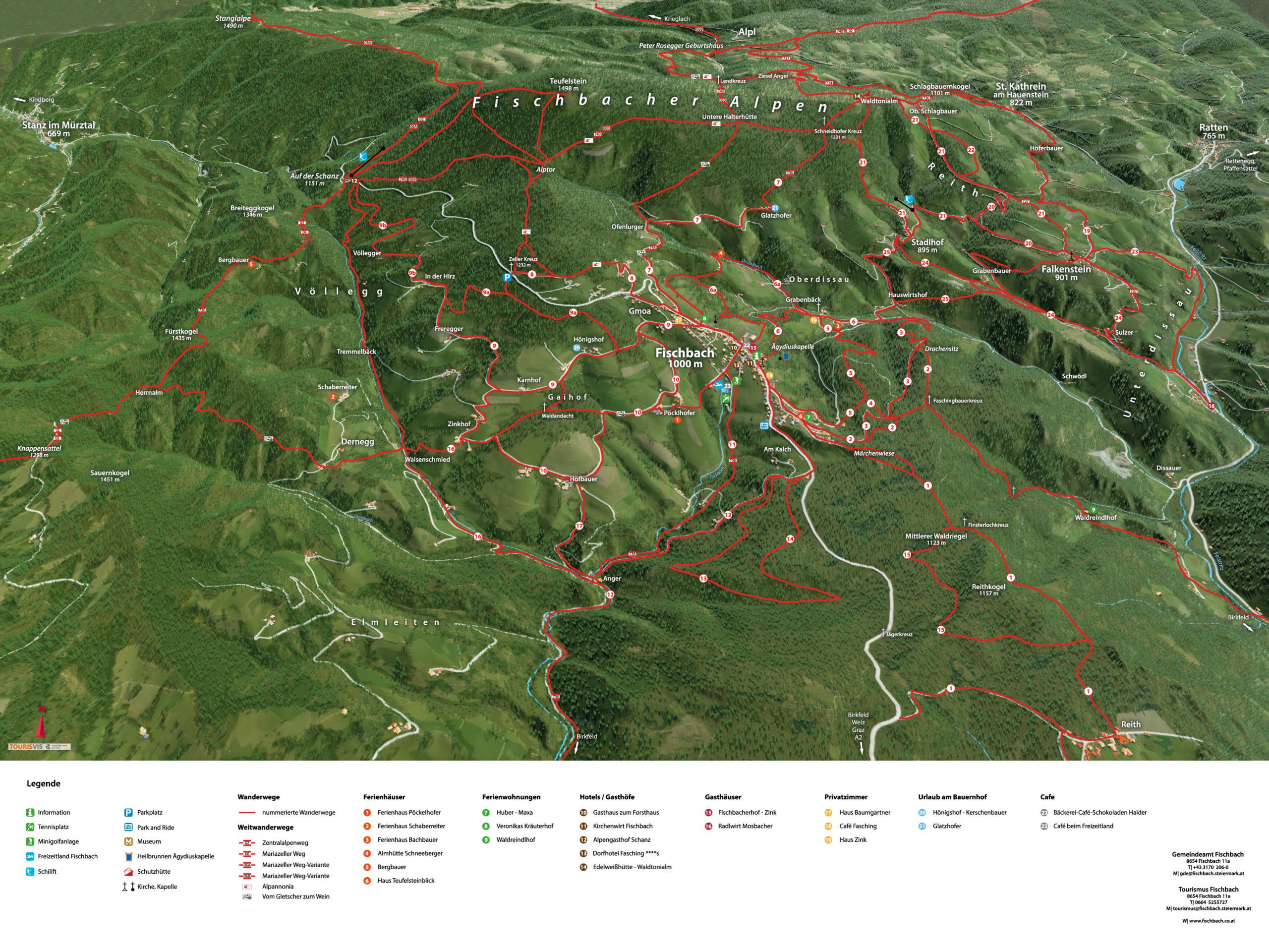 3D Panoramakarte - Wandern - Fischbach Steiermark