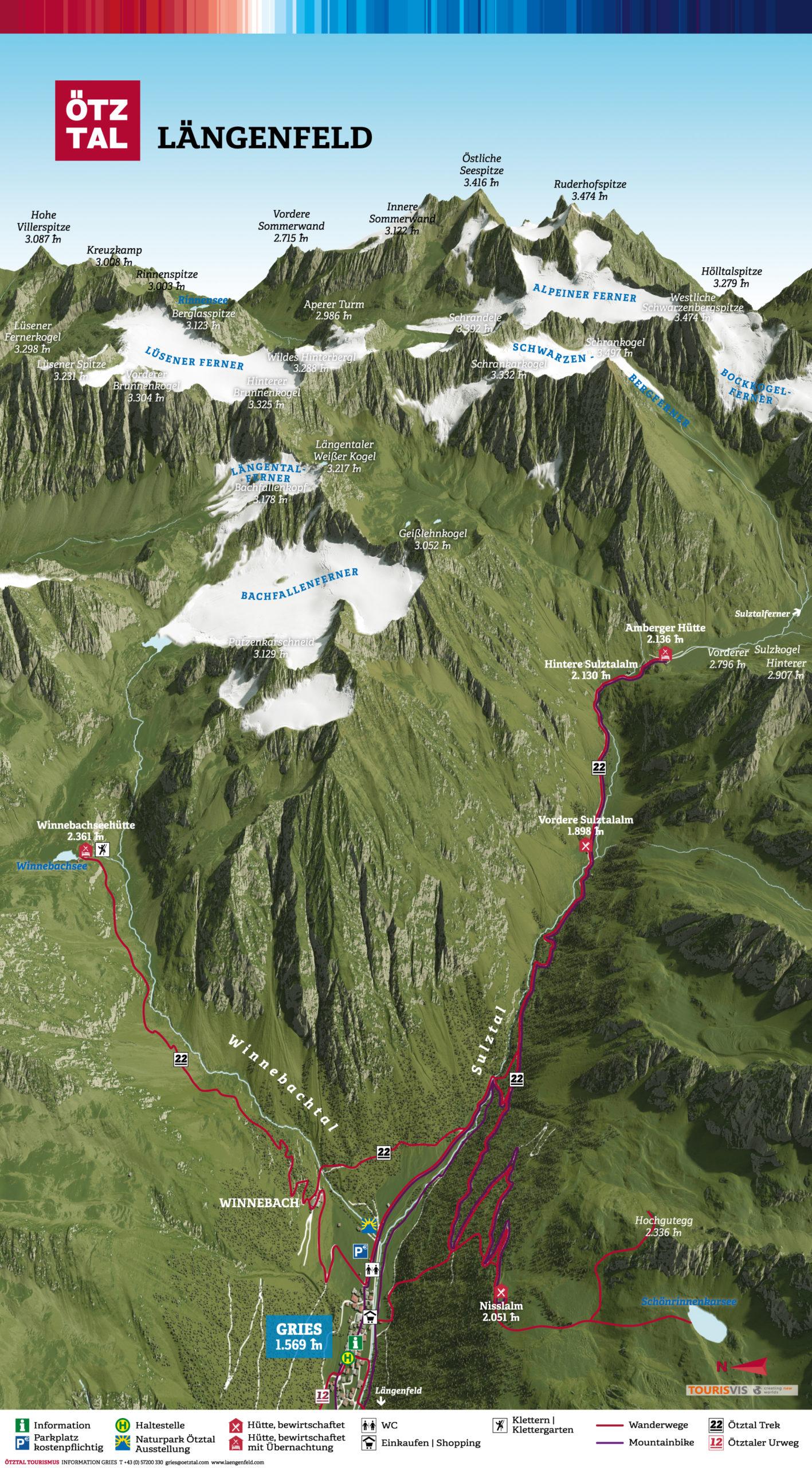 3D Panoramakarte - Wandern und Mountainbike - Gries Ötztal