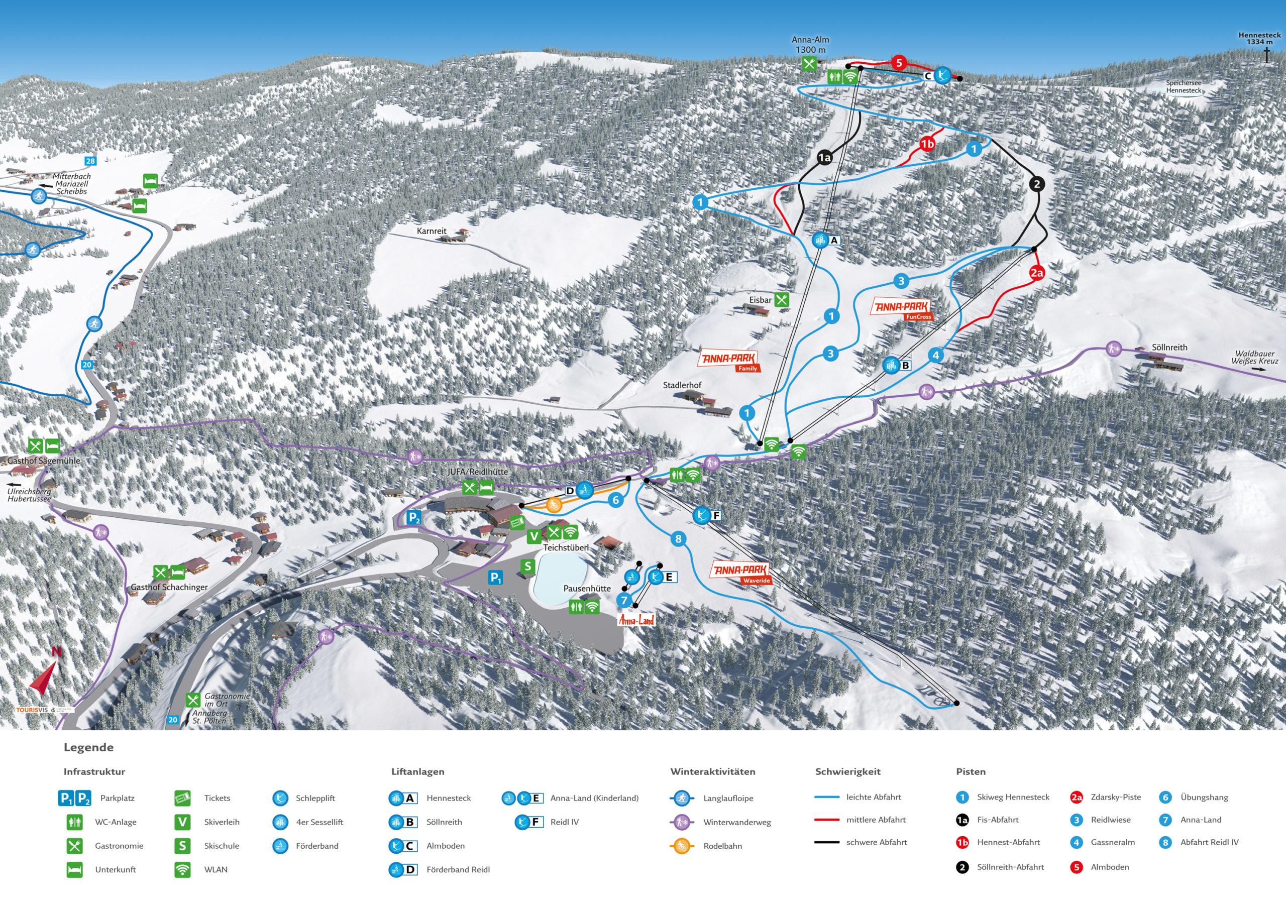 3D Panoramakarte - Winteraktivitäten - Hennesteck Niederösterreich