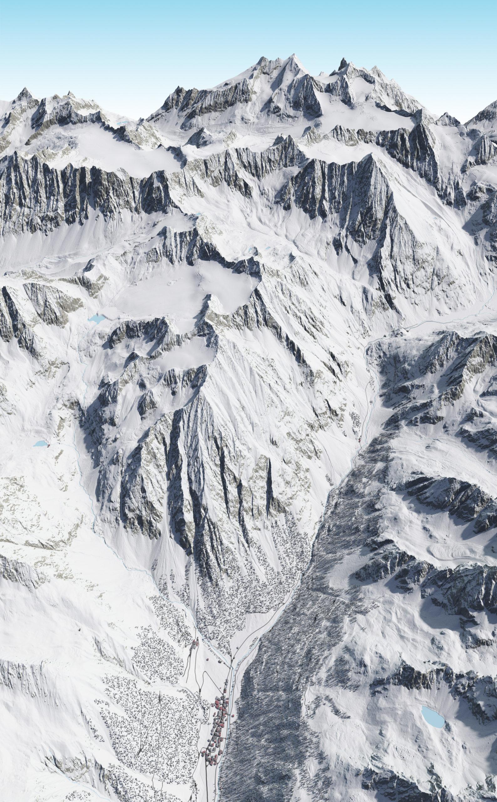 3D Panoramakarte Winter - Gries Ötztal