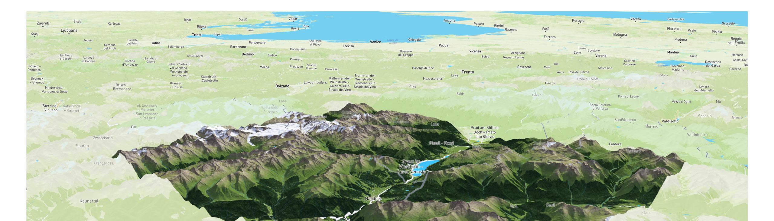 3D Panoramakarte Web - Ferienregion Reschenpass Sommer-Webkarte