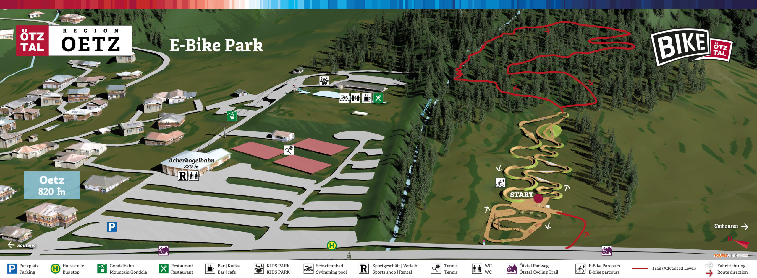3D Panoramakarte Bikepanorama - E-Bike Parcours Oetz 2021