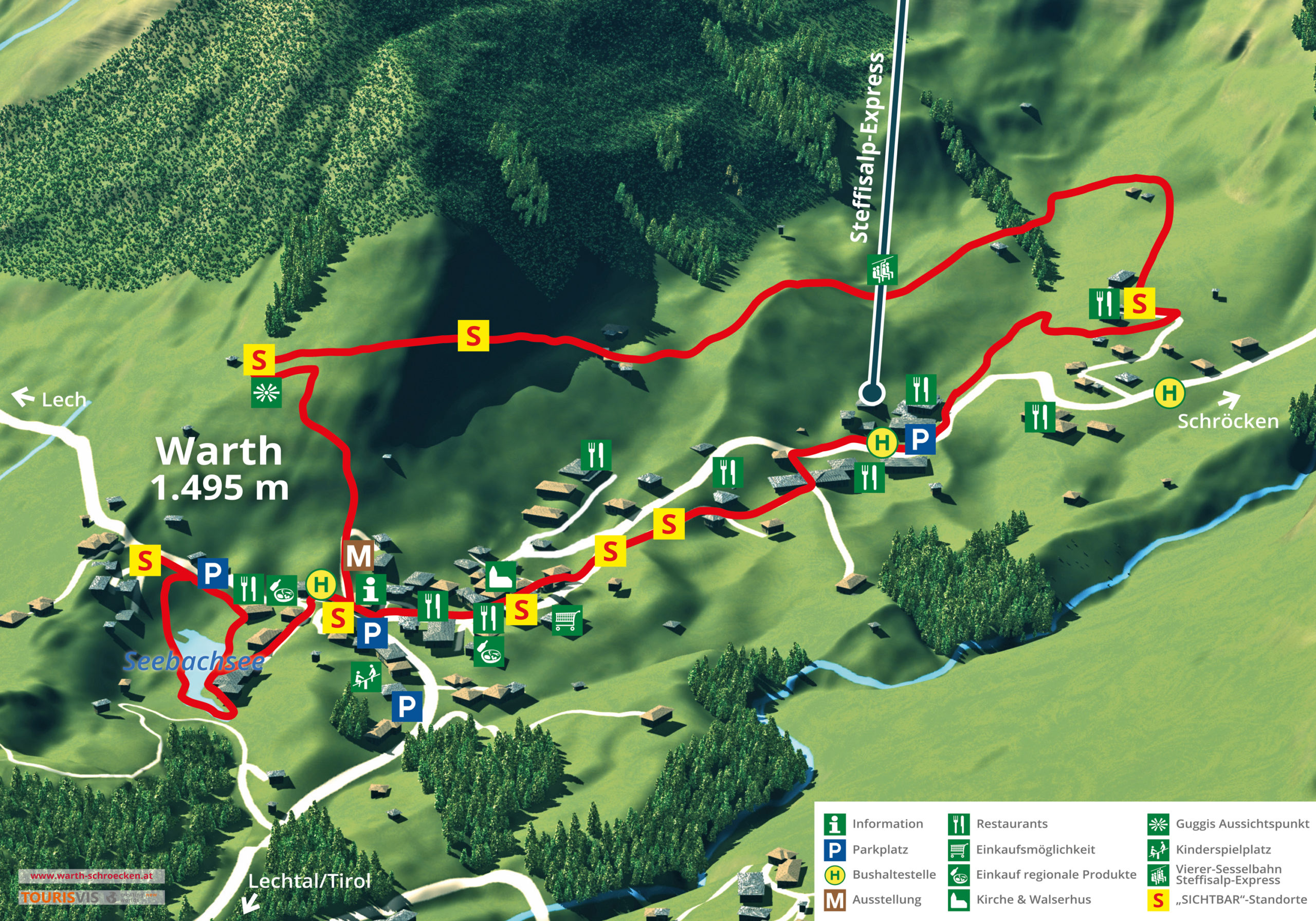 3D Panoramakarte Wandern - Dorfrundweg Warth