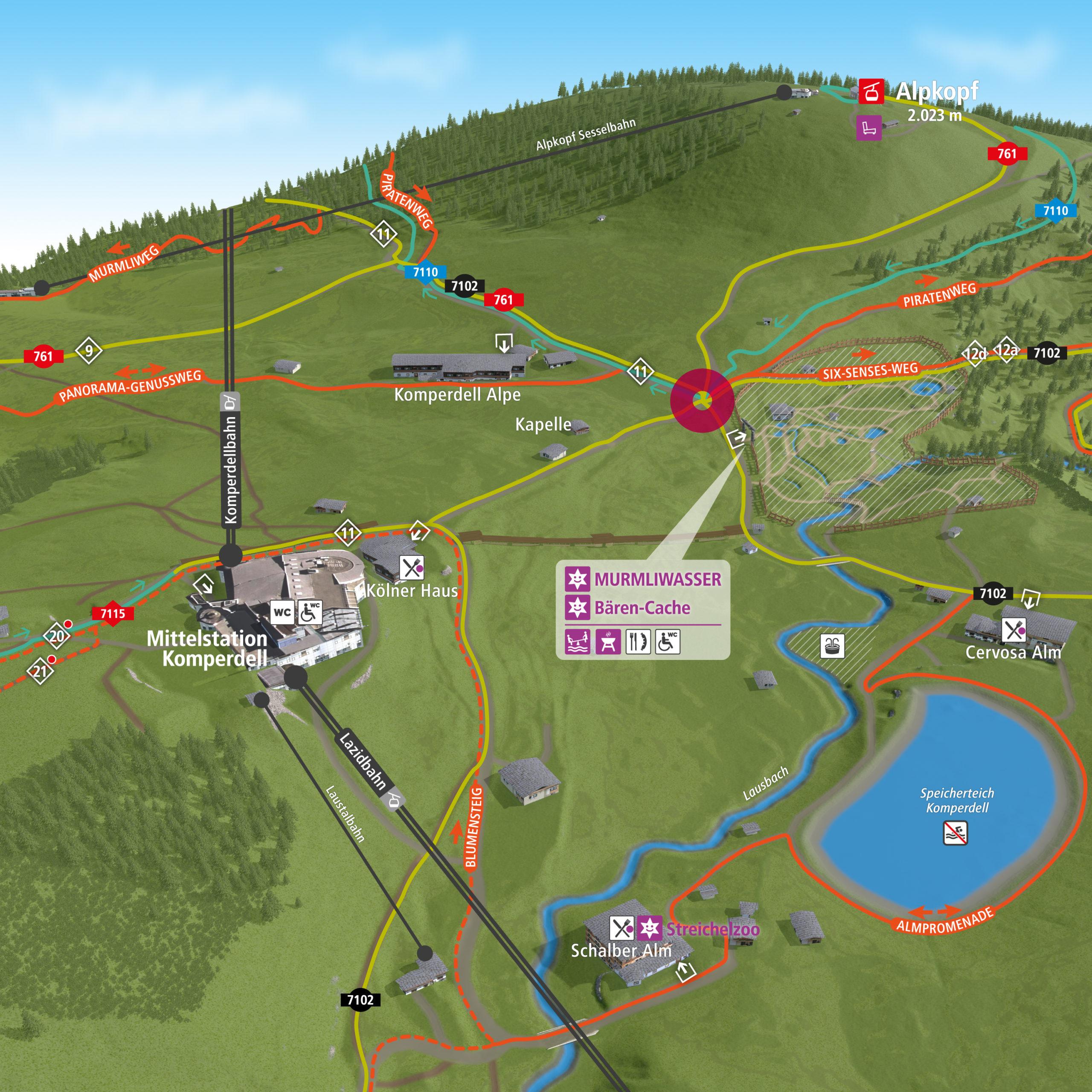 3D Panoramakarte Serfaus-Fiss-Ladis Murmliwasser - Wandern & Biken