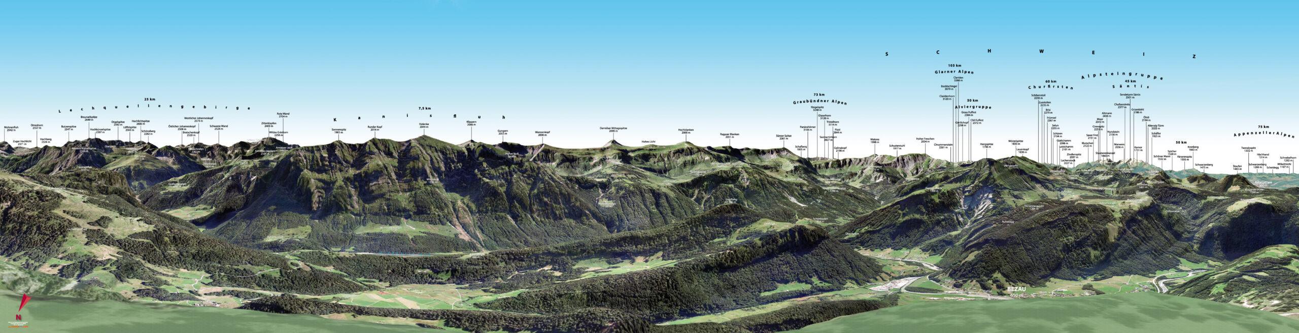 3D Gipfelpanorama Bergstation Baumgarten Süd Bezau