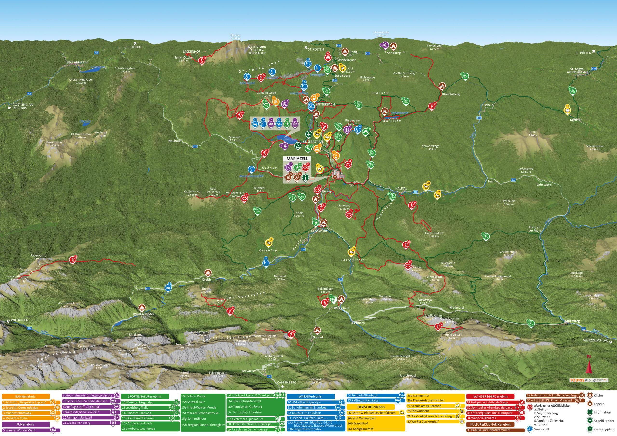 3D Panoramakarte Mariazellerland Wandern und MTB