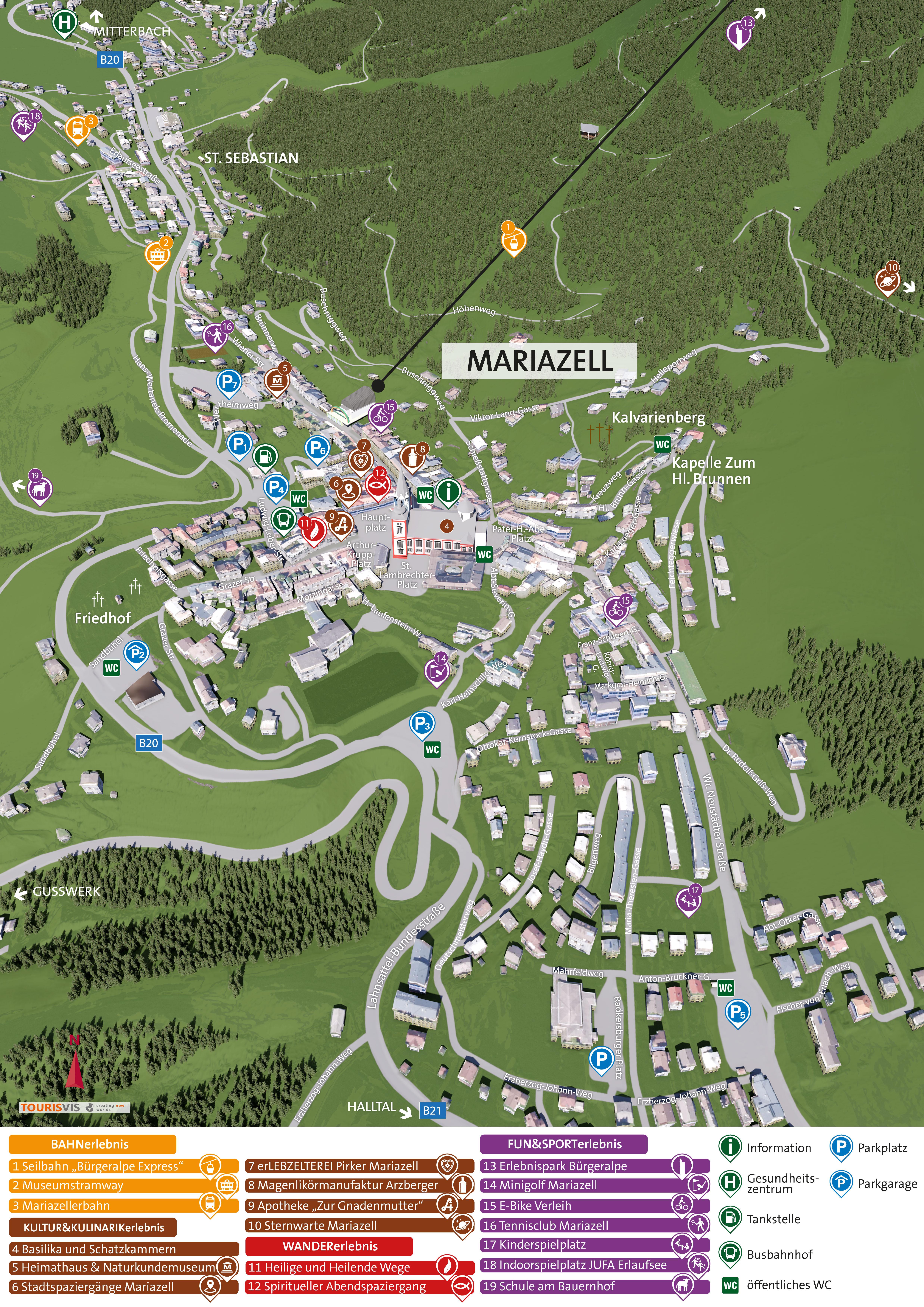 3D Panoramakarte Ortsplan Mariazell Zentrum