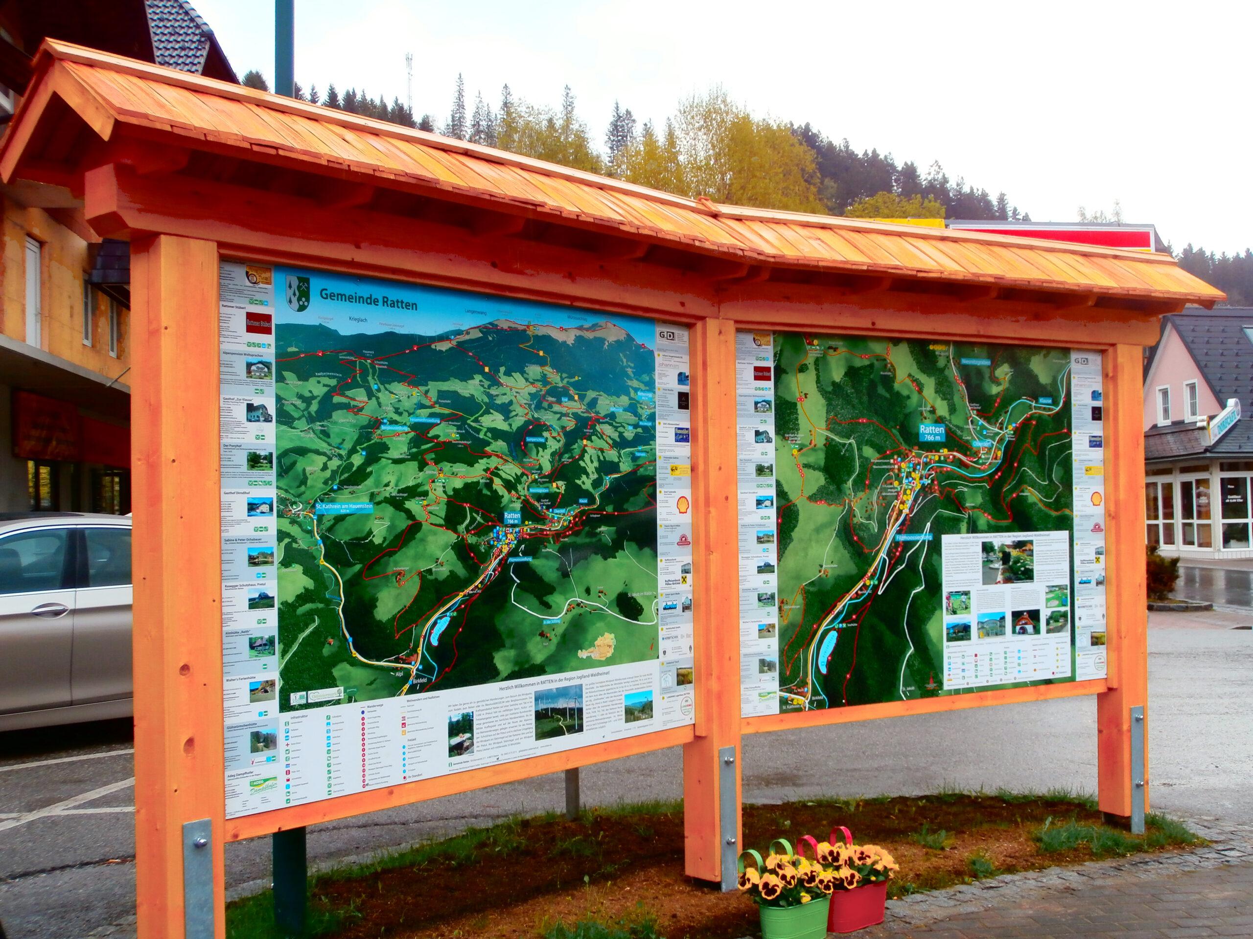 3D Panoramakarte - Panoramatafel Gemeinde Ratten
