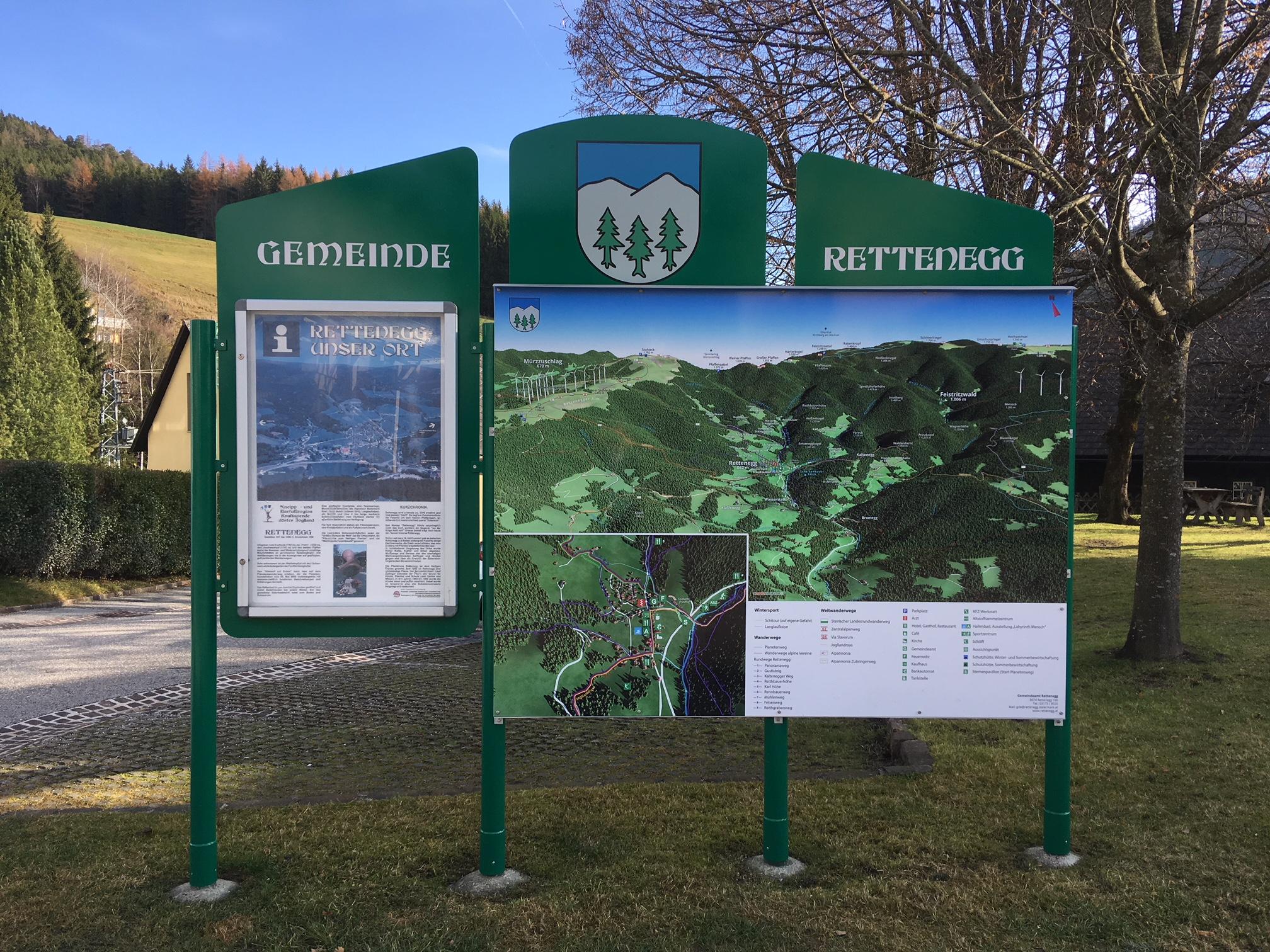 3D Panoramakarte - Panoramatafel Gemeinde Rettenegg