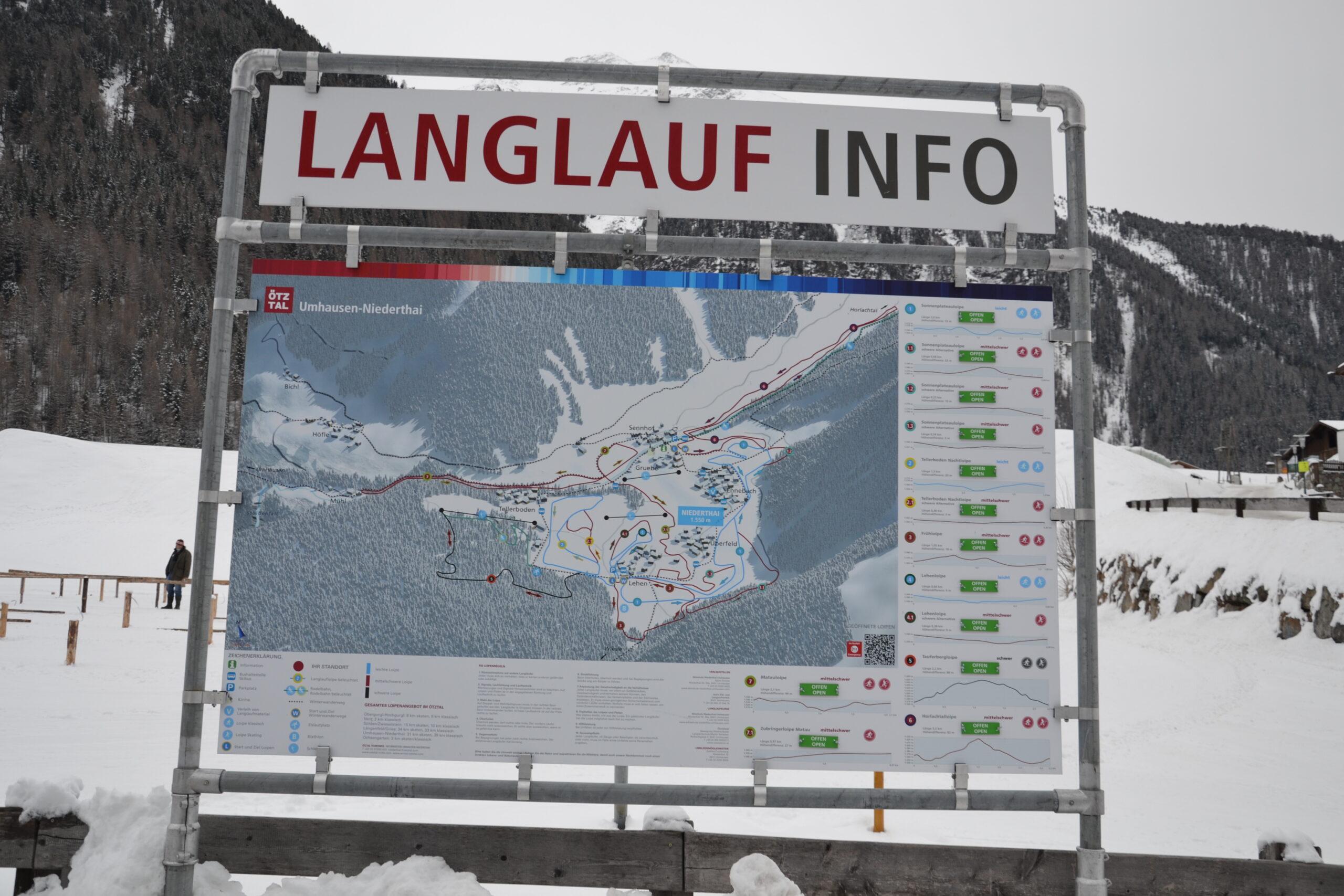 3D Panoramakarte - Panoramatafel Langlaufen Umhausen Niederthai