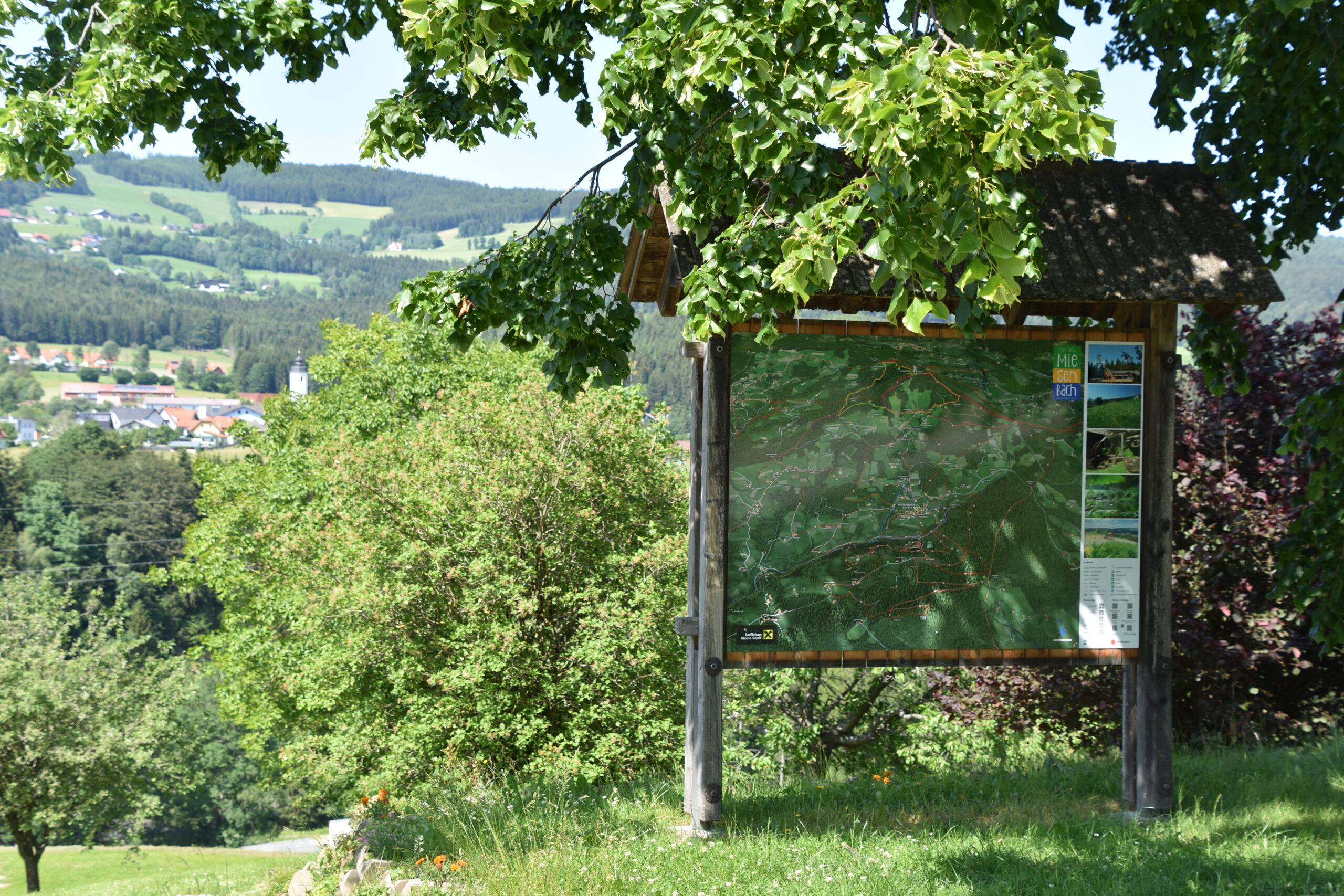 3D Panoramakarte - Panoramatafel Gemeinde Miesenbach Wandern