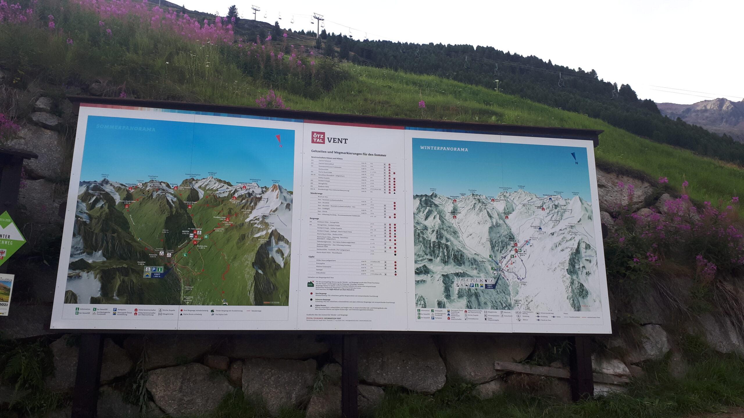 3D Panoramakarte - Panoramatafel Vent Ötztal Sommer- und Winterpanorama