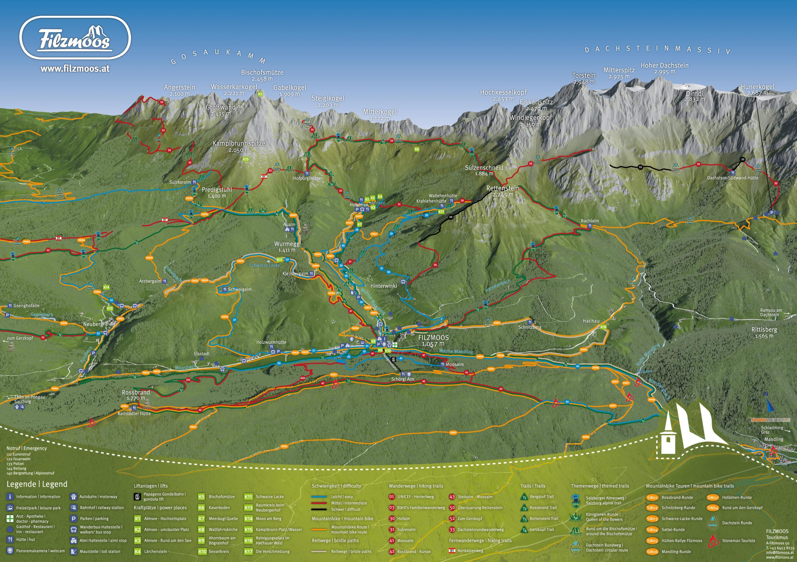 3D Panoramakarte - Wandern/Biken/Trails - TVB Filzmoos