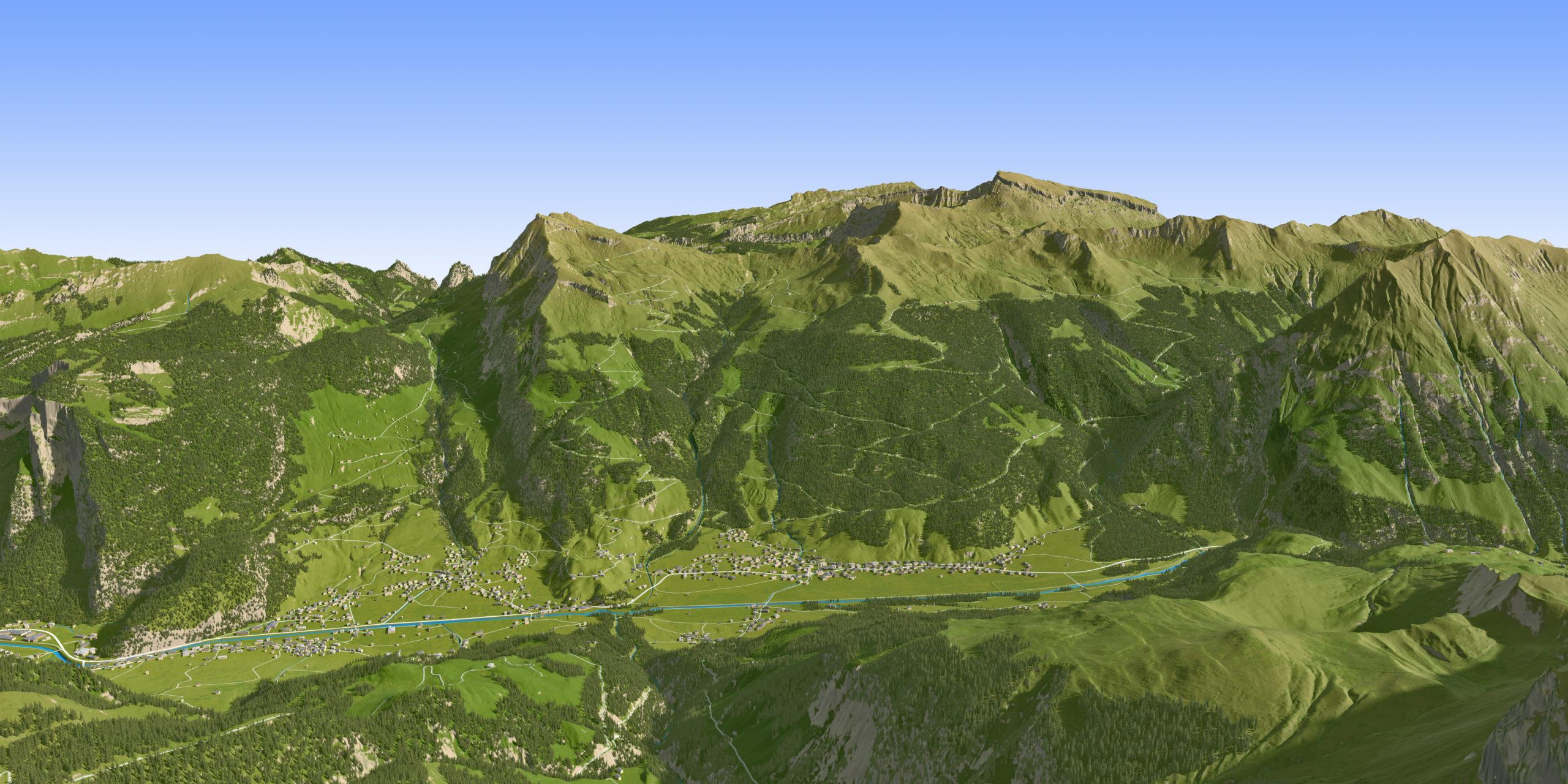 3D Panoramakarte - 3D Sommerpanorama Au-Schoppernau Vorarlberg