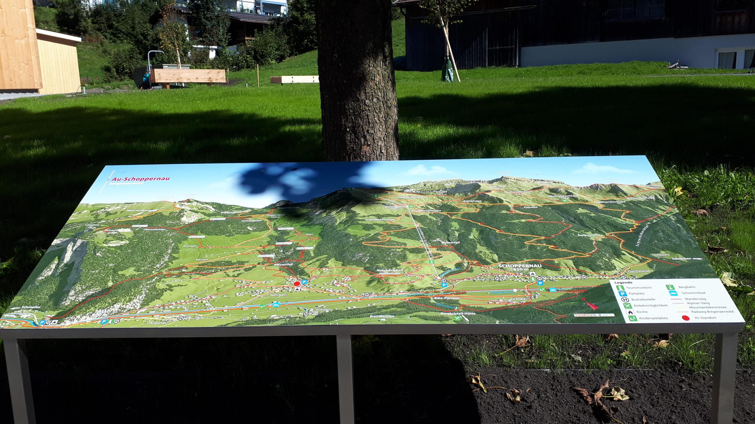 3D Panoramakarte - Panoramatafel Au-Rehmen Vorarlberg