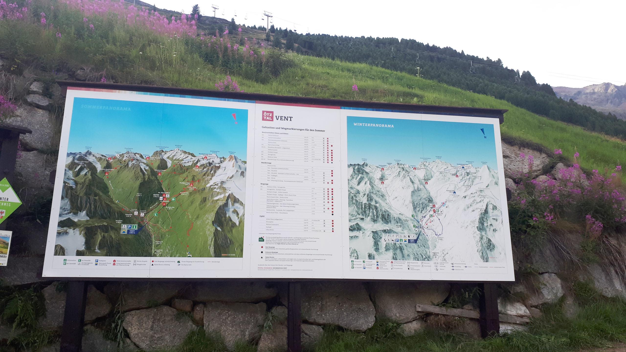 3D Panoramakarte - Panoramatafel - Vent Ötztal - Sommer & Winter