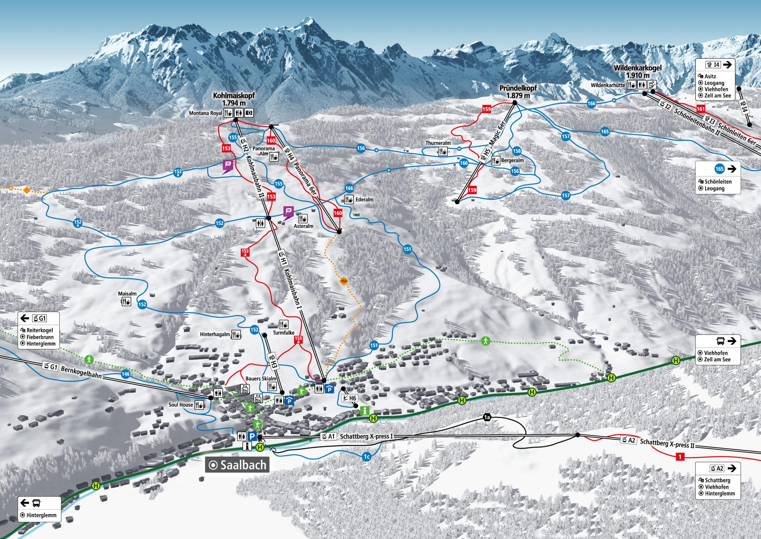 3D Panoramakarte Skicircus Saalbach Hinterglemm Leogang Fieberbrunn - Kohlmaiskopf - Winterpanorama