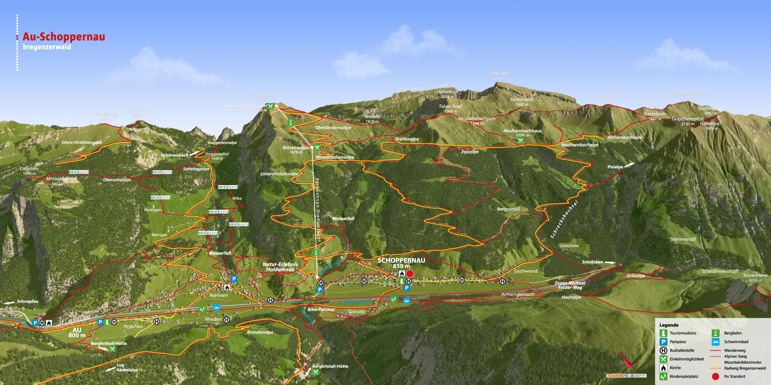3D Panoramakarte - Wandern & Biken Au-Schoppernau Vorarlberg