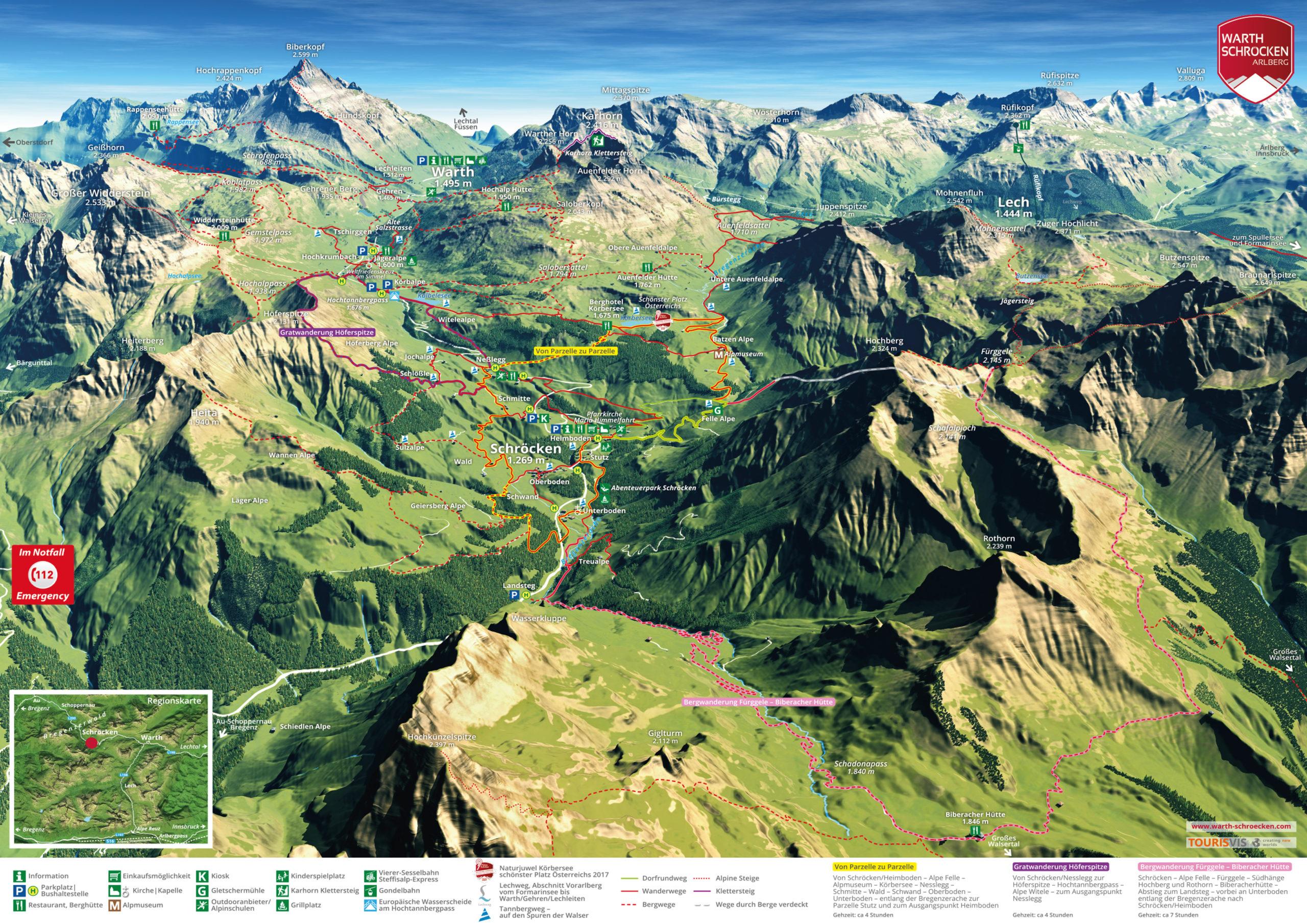 3D Panoramakarte Schröcken Vorarlberg - Sommerpanorama