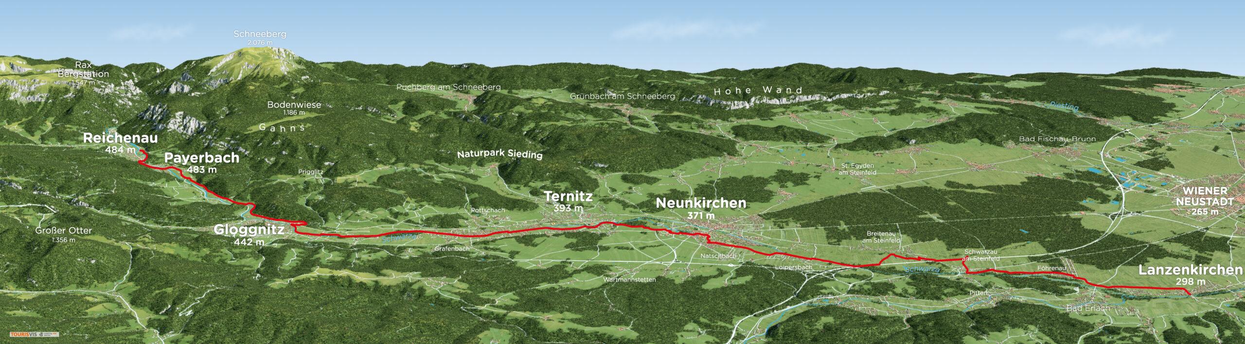 3D Panoramakarte Wiener Alpen - Schwarzatal Radroute