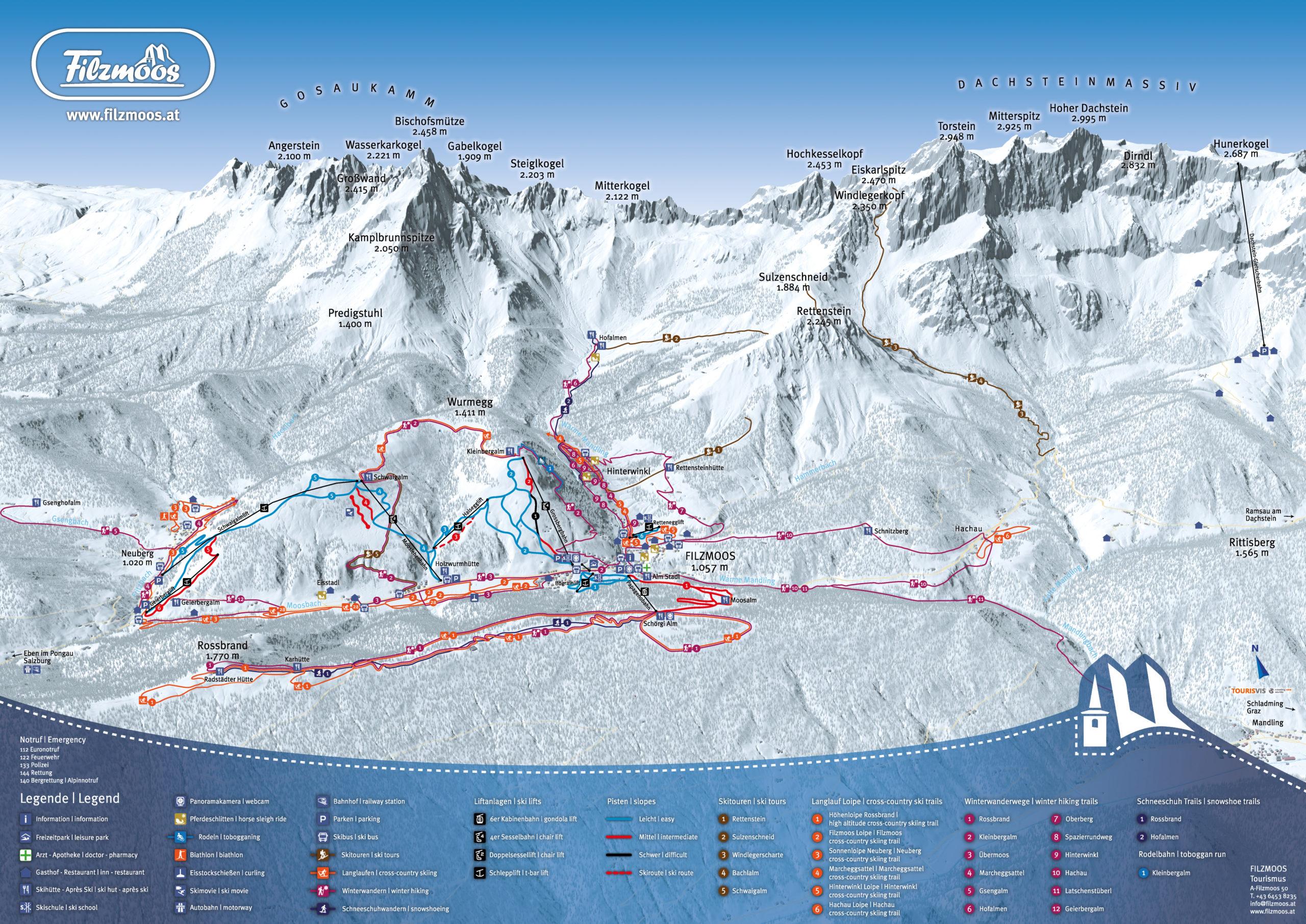 3D Panoramakarte TVB Filzmoos - Winterpanorama