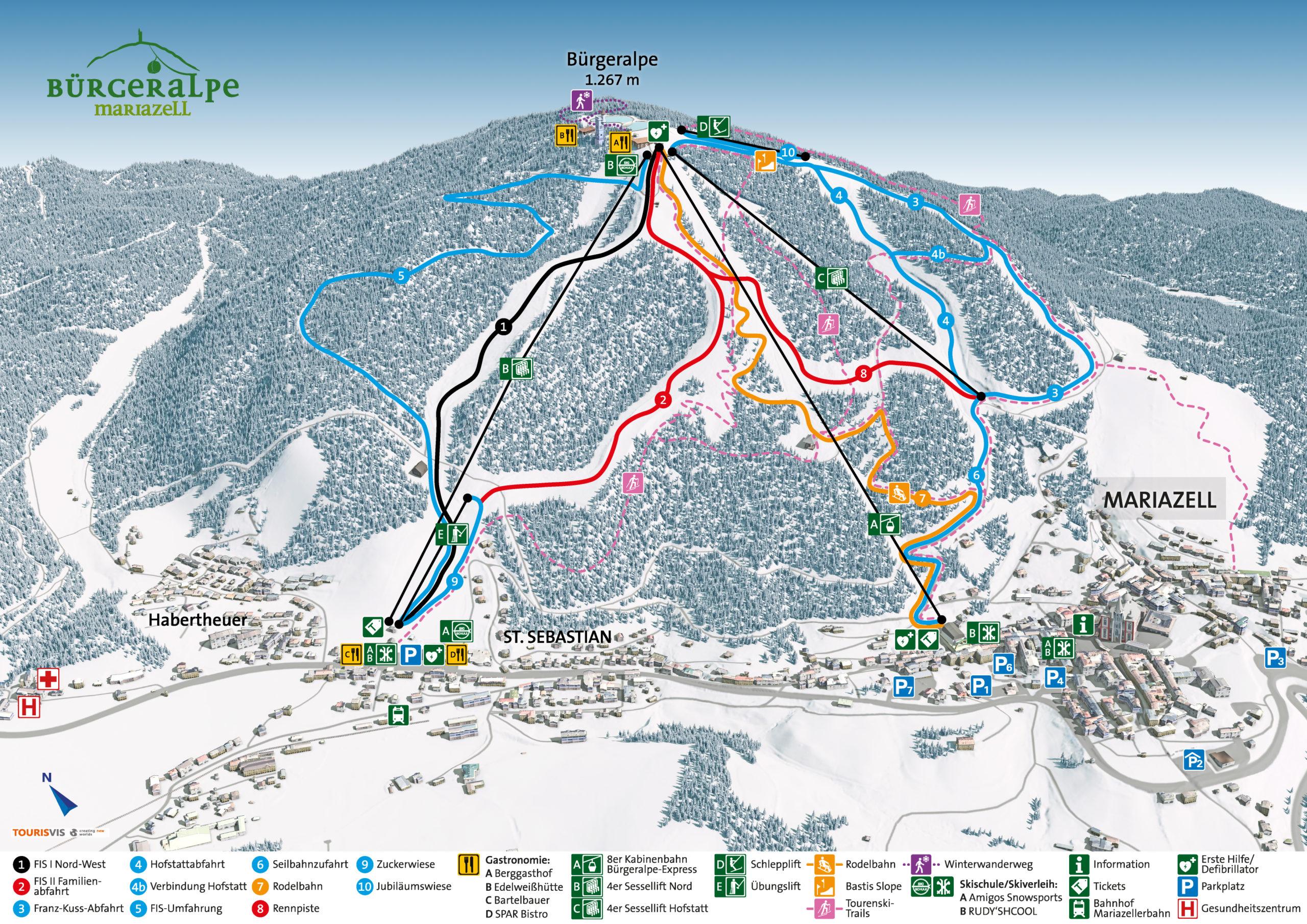 3D Panoramakarte - Winterpanorama Mariazeller Bürgeralpe