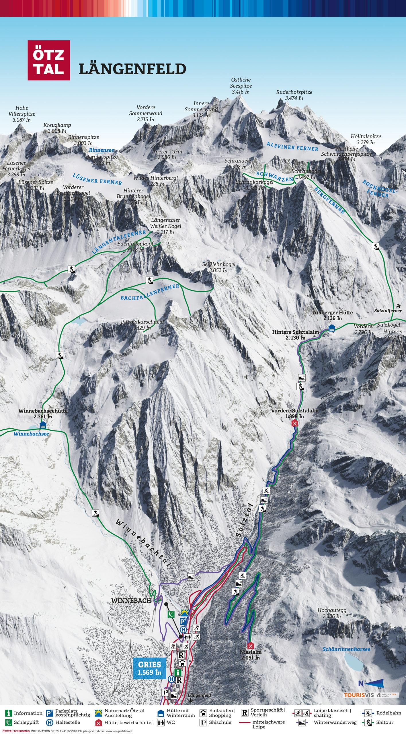 3D Panoramakarte Gries Ötztal - Winterpanorama