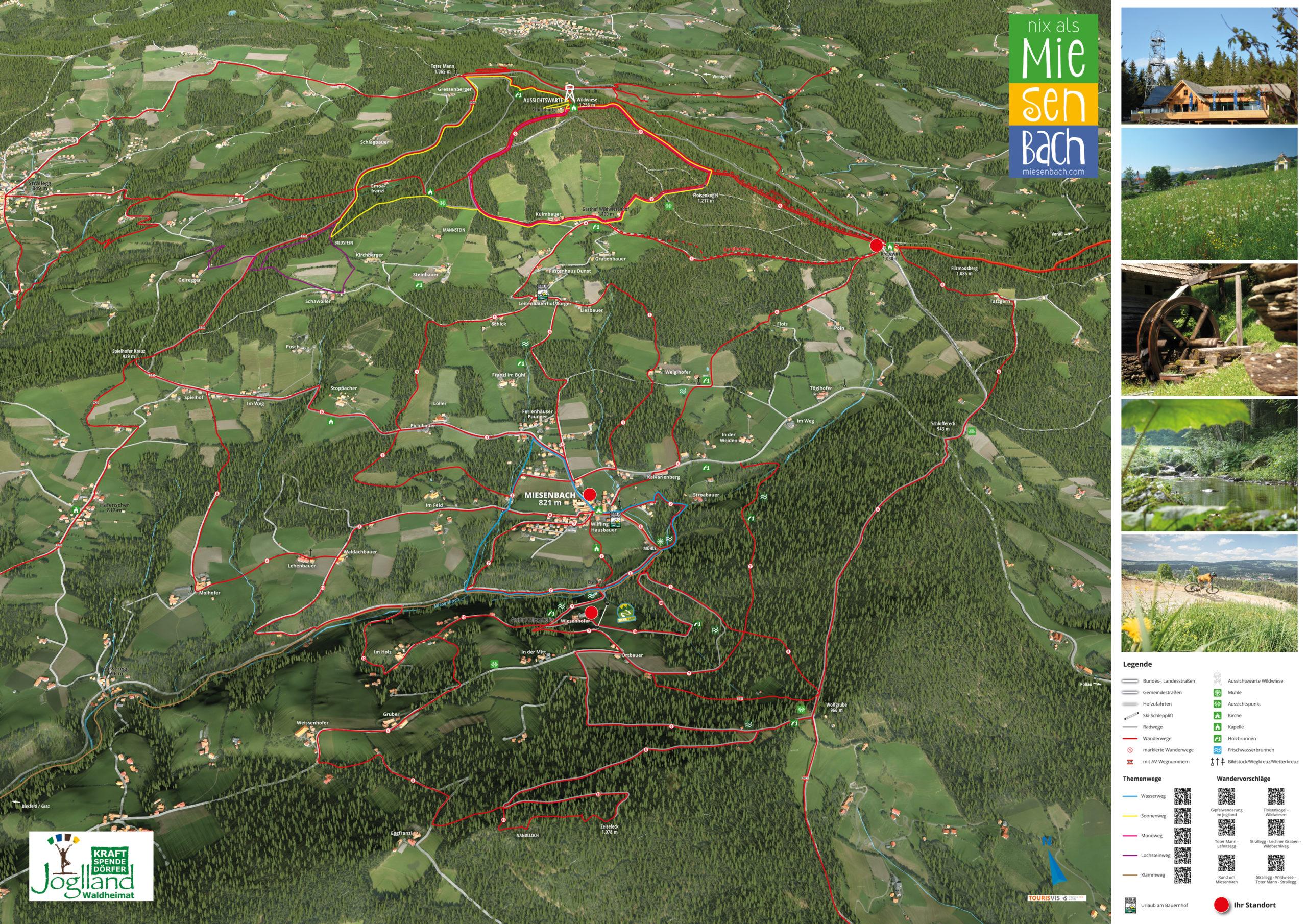 3D Panoramakarte - Wandern - Gemeinde Miesenbach