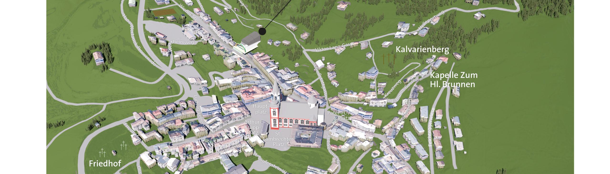 3D Panoramakarten - Ortsplan Mariazell
