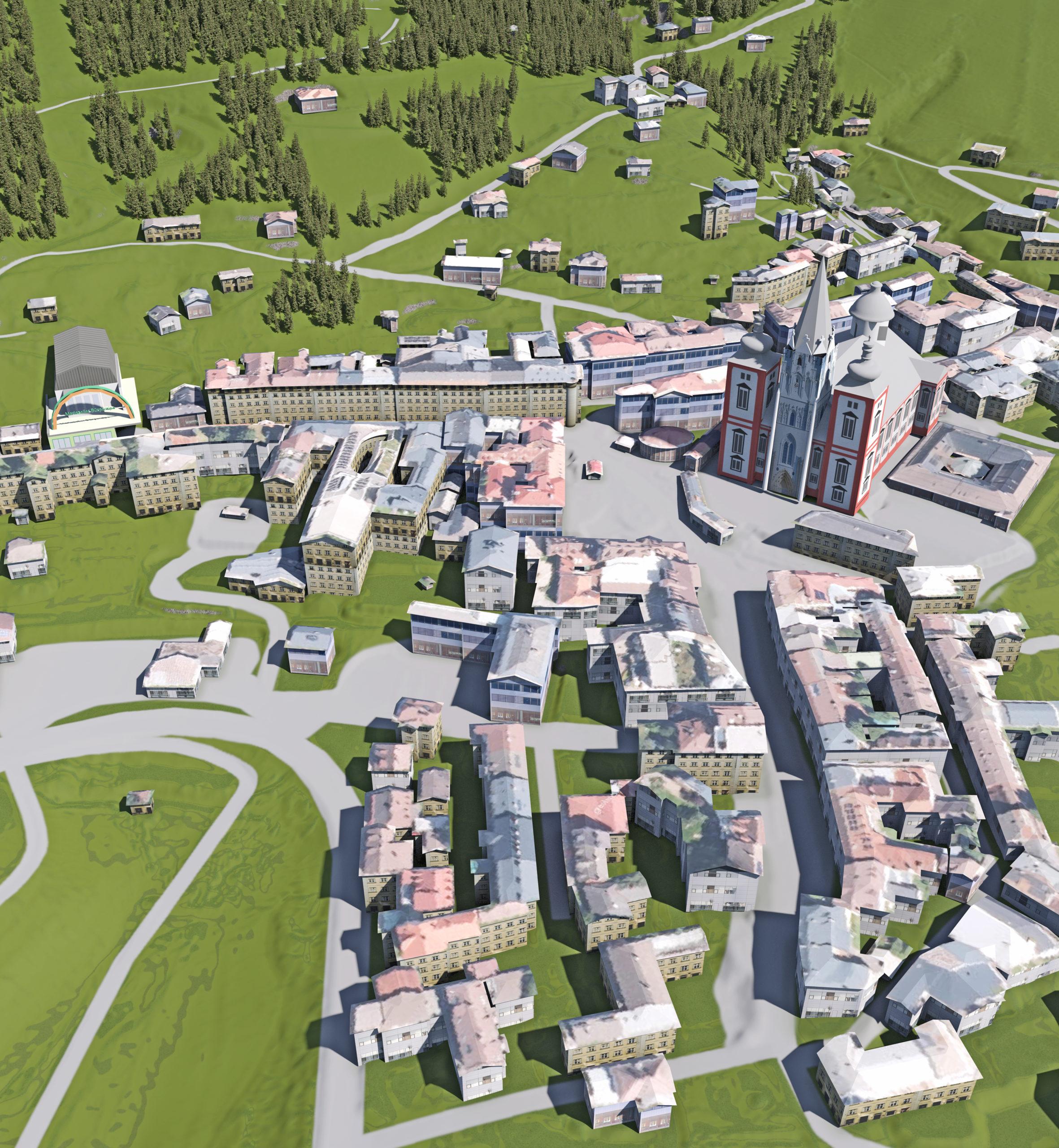 3D Panoramakarten - Ortsplan Mariazell Ortskern mit Basilika